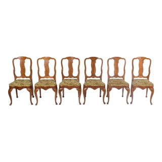 Set of 6 Crotch Walnut Curved Fiddle Back Dining Chairs With Gold Velvet Upholstery For Sale