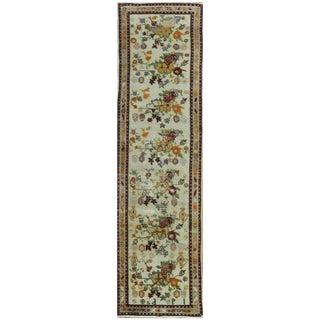 Surena Rugs Handmade Vintage Ivory Floral Turkish Runner Rug - 2′8″ × 10′