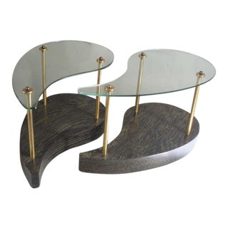 Organic teardrop Form Glass Top Oak Side Tables - A Pair For Sale