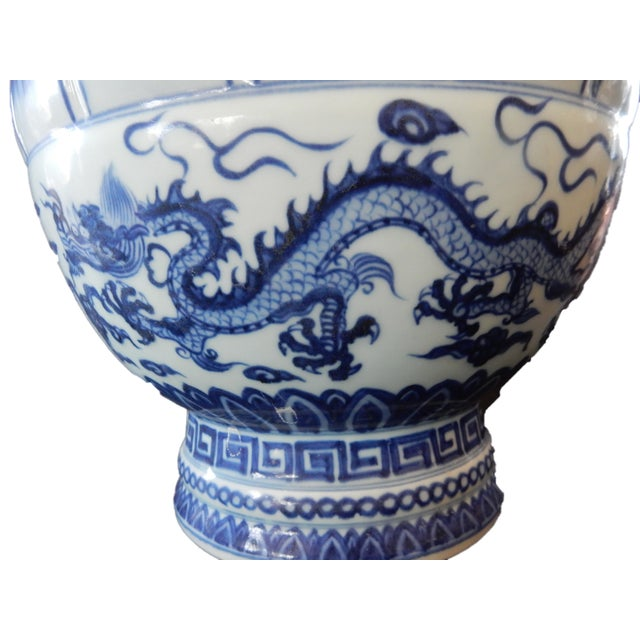 B & W Lotus Flower Vase w/Dragon For Sale - Image 5 of 10
