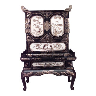 Asian Japanese Style Black Lacquered and Decorated Miniature Cabinet on Stand For Sale