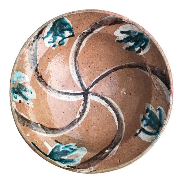 Rustic Folk Slip Glaze Bowl For Sale