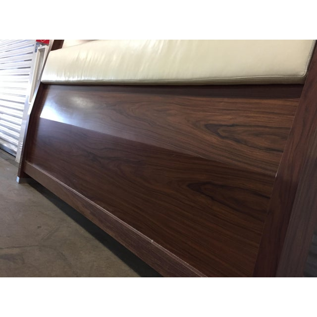 King Solid Mahogany and Leather Bed Headboard by Morlen Sinoway For Sale - Image 9 of 13