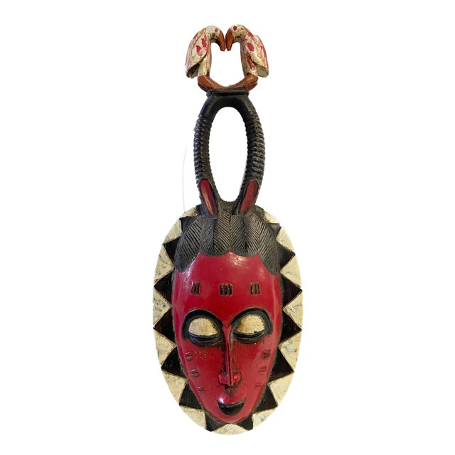 """Vtg African Guru Portrait Bird Mask Cote d'Ivoire 22.5"""" H For Sale - Image 9 of 9"""