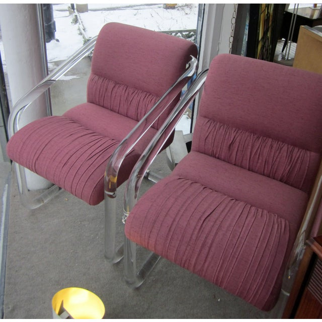 Lion in Frost 1970s Lucite Hollywood Regency Style Chairs-a Pair For Sale - Image 4 of 12