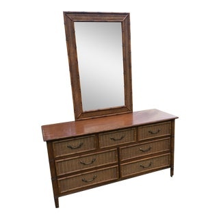 Vintage Dixie Rattan Faux Bamboo Dresser With Mirror