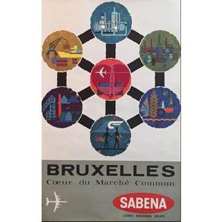 1960s Original Belgian Travel Poster - Sabena Airlines - Bruxelles For Sale