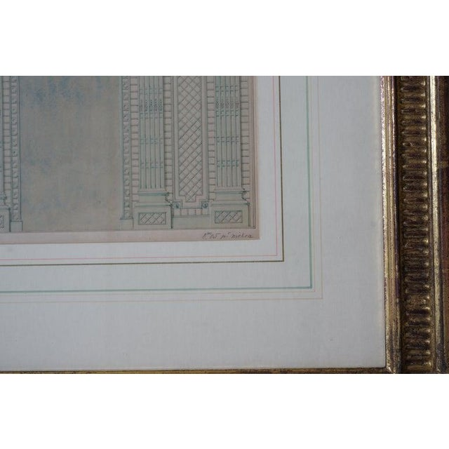 Antique 1820's Hand-Colored Architectural Drawing of Flowering Trellis For Sale - Image 4 of 9
