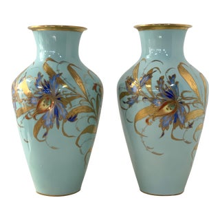 Pair of Decorative Hand-Painted Ceramic Drilled Vases For Sale