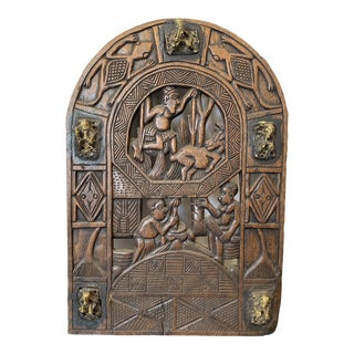 Wooden Window Relief Sculpture With Brass Figures For Sale