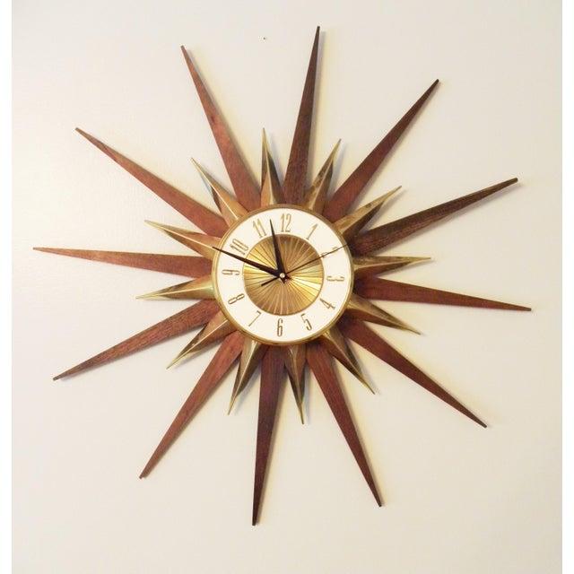 Vintage Elgin Mid Century Star Burst Wall Clock - Image 2 of 8