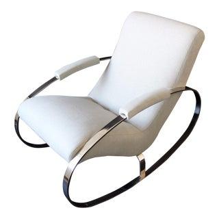 Mid Century Modern Renato Zevi Selig Style Italian Chrome Rocker Lounge Chair For Sale