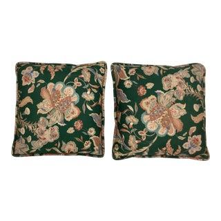 Floral Cotton Satin Print Pillows - A Pair For Sale