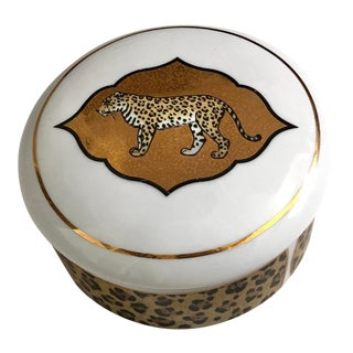 1990s Lynn Chase Amazonian Jaguar Trinket Box With Leopard For Sale