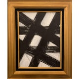 Image of Black and White Franz Kline-Inspired Framed Painting For Sale