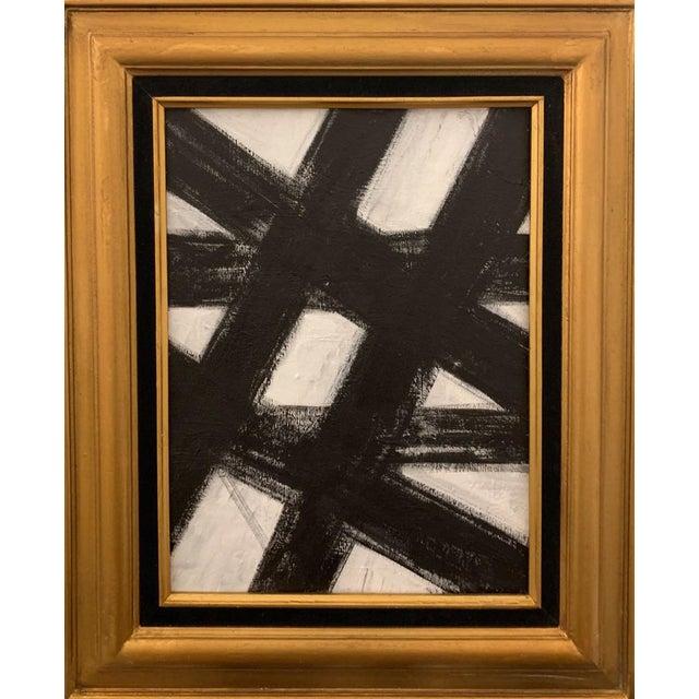 Black and White Franz Kline-Inspired Framed Painting For Sale