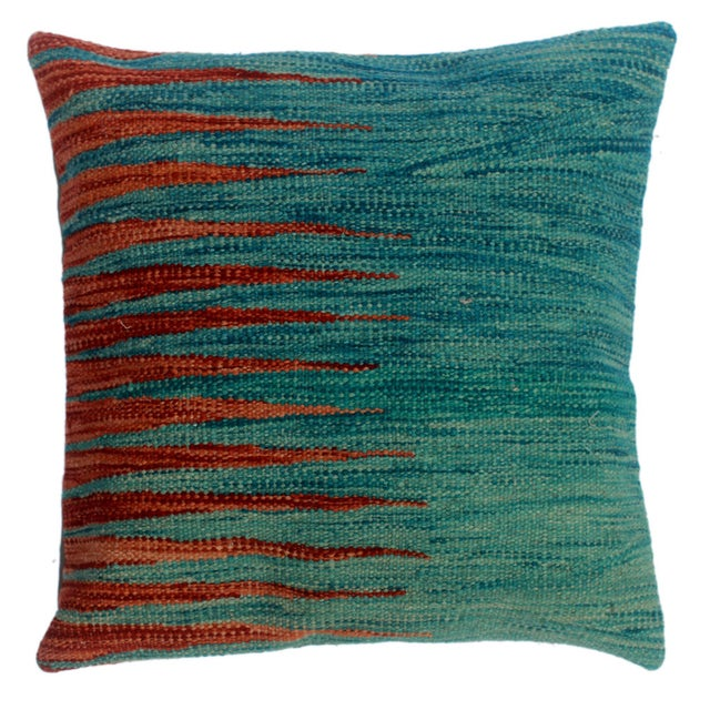 """Devon Blue/Rust Hand-Woven Kilim Throw Pillow(18""""x18"""") For Sale In New York - Image 6 of 6"""