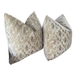 Boho Chic Plush Down Filled Cut Velvet Pillows - a Pair For Sale