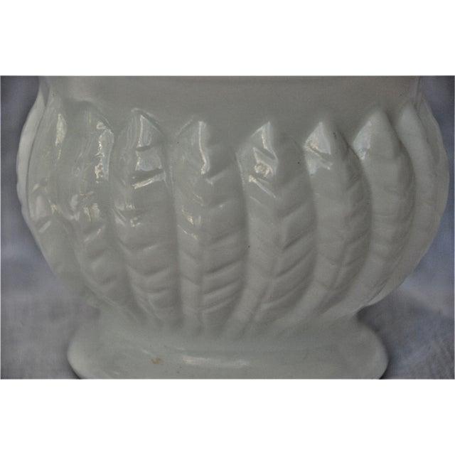Art Nouveau Vintage Leaf Design Randall Milk Glass Vase For Sale - Image 3 of 7