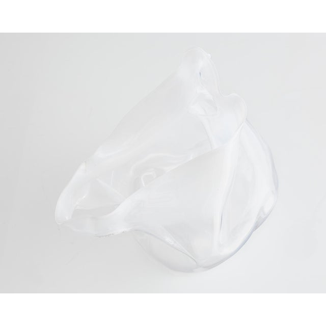 Unique crumpled sculptural vessel in clear hand-blown glass. Designed and made by Jeff Zimmerman, USA, 2014.