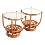 Image of Vintage Hollywood Regency Bamboo Side Tables - a Pair For Sale