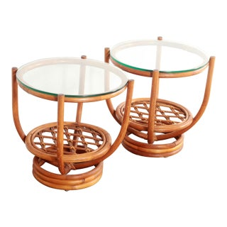 Vintage Hollywood Regency Bamboo Side Tables - a Pair For Sale