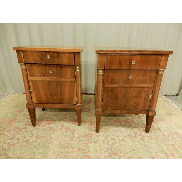 Pair of French Empire Walnut Bedside Cabinets For Sale - Image 11 of 11