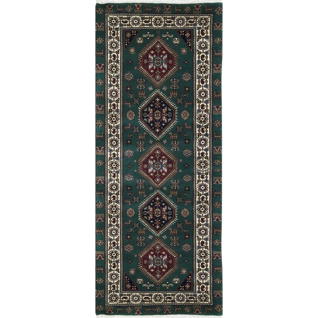 Transitional Hand Woven Green and Ivory Wool Rug 2'8 X 7'2 For Sale