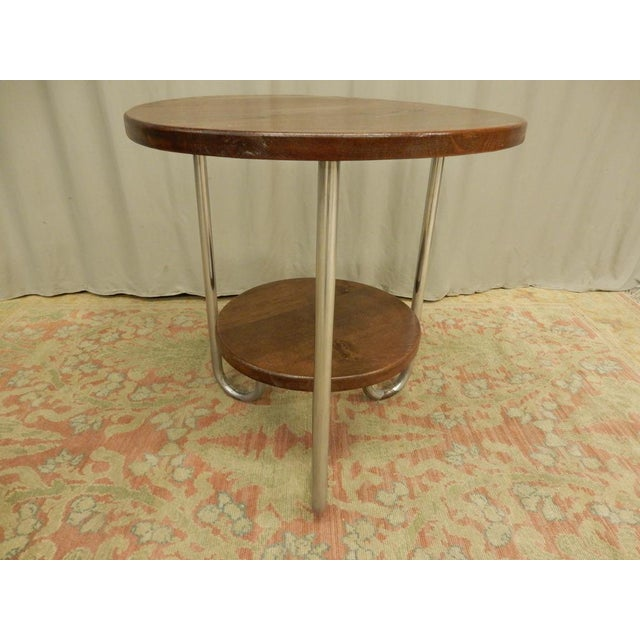 French 1940's French Two Tier Wood and Chrome Round Table For Sale - Image 3 of 7