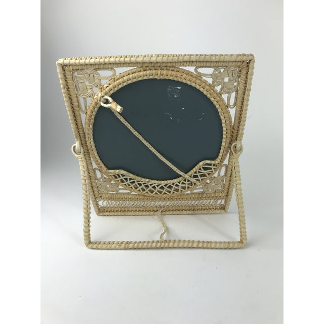 Asian Boho Wicker Table Mirror For Sale - Image 3 of 6