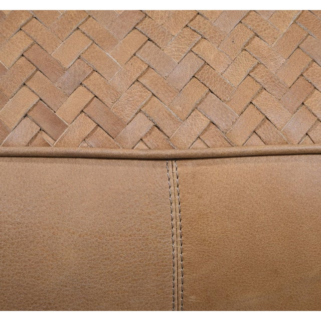 Light Brown Square Leather Upholstered Pouf For Sale - Image 4 of 5