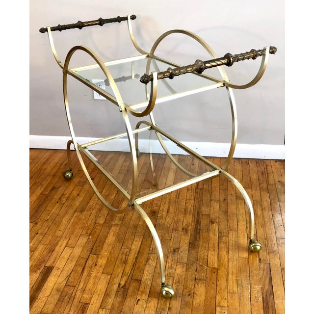Hollywood Regency Hollywood Regency Style Brass Bar Cart With Beveled Glass Shelves For Sale - Image 3 of 11
