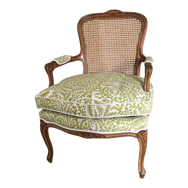 Vintage Cane French Louis Chair Raoul Textiles Fabric For Sale