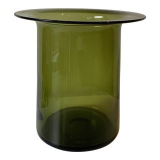"Green Glass ""Top Hat"" Vase For Sale"
