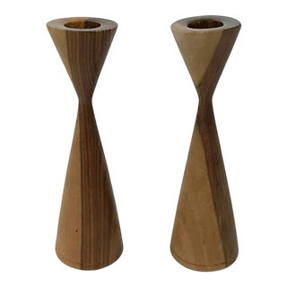 Mid-Century Modern Wood Candlesticks - a Pair For Sale