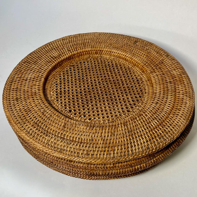 """Campaign Vintage Extre-Large 18"""" Open Weave Wicker Chargers, Set of 8 For Sale - Image 3 of 8"""