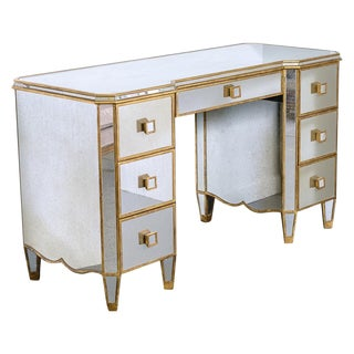 Antiqued Mirrored Vanity Table/Desk For Sale