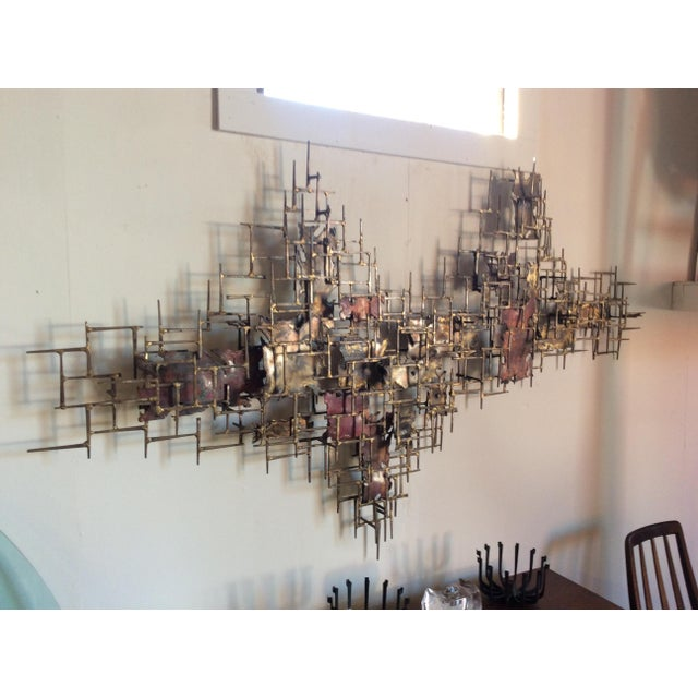 """Huge 72""""wide Signed Silas Seandel Brutalist Nail Sculpture Wall Art Mid Century For Sale - Image 12 of 13"""