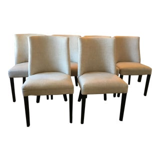 Modern Restoration Hardware French Barrelback Fabric Side Chairs- Set of 6 For Sale