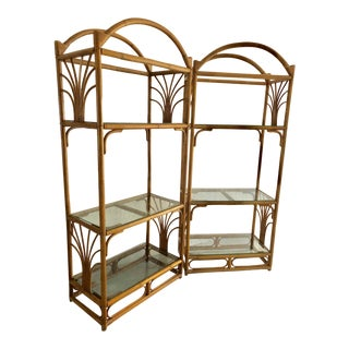 Vintage Bamboo & Rattan Arched Etageres With Glass Shelves-A Pair For Sale