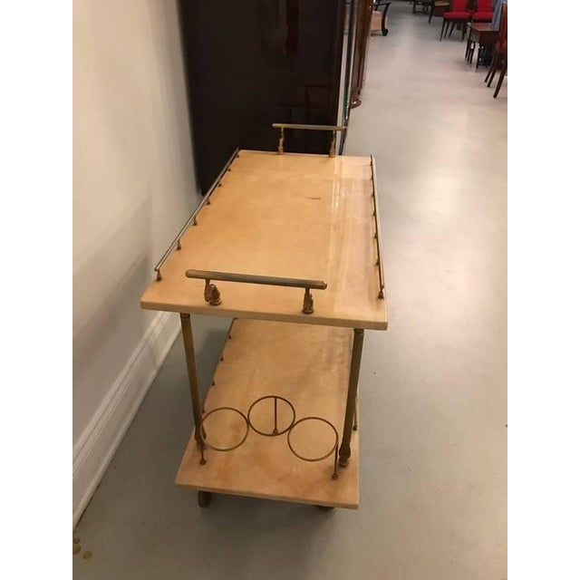 Hollywood Regency Aldo Tura Brass and Parchment Bar Cart For Sale - Image 3 of 9