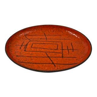 Modernist Orange Enamel Tray, Signed Vallenti Italy For Sale