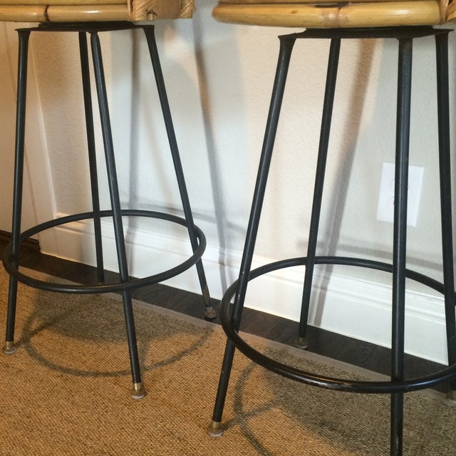 Bamboo Vintage Seng of Chicago Wicker & Iron Stools - A Pair For Sale - Image 7 of 7