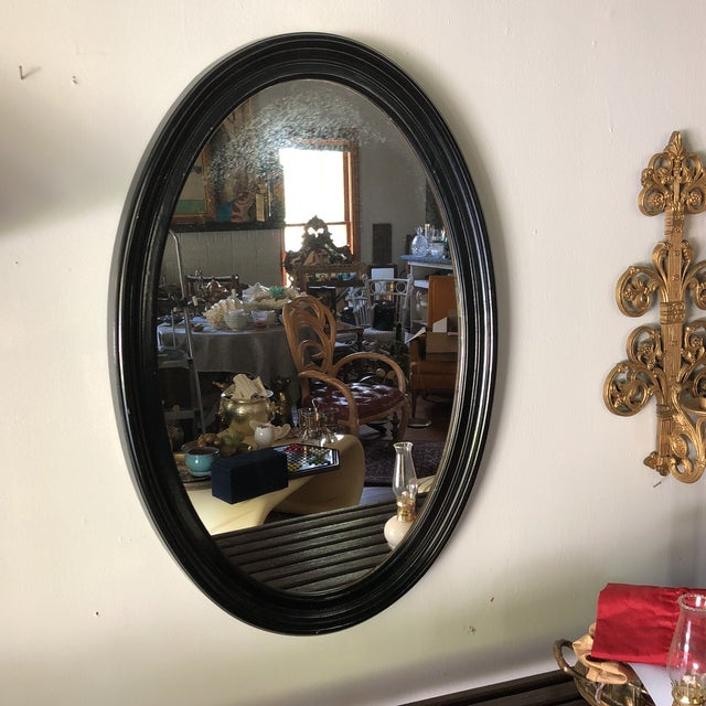 1980s Traditional Black Wooden Oval Mirror For Sale - Image 4 of 4