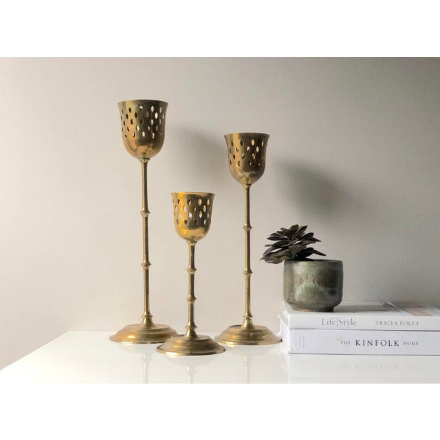 Brass Set of Three Tall Brass Candle Holder Set For Sale - Image 8 of 8
