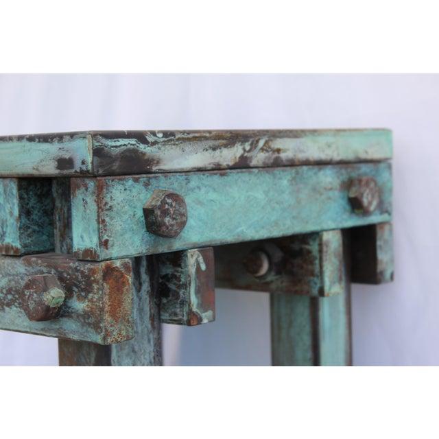 Metal Art Deco Mid-Century Design Antiqued Green Finish Steel Pedestal For Sale - Image 7 of 9