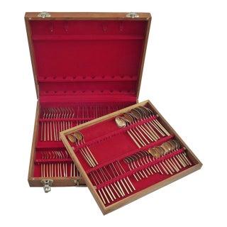 Vintage Brass Flatware in Wooden Case - Set of 114