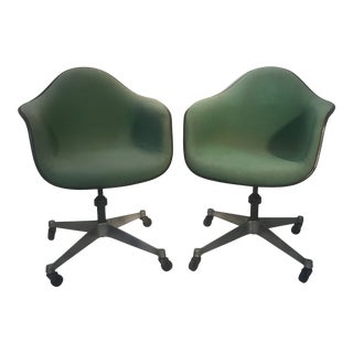 Vintage Herman Miller Eames Upholstered Fiberglass Shell Chairs, Swivel Casters- a Pair For Sale
