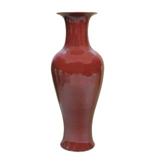 Burgundy Red Handmade Large Tall Simple Slim Line Vase For Sale