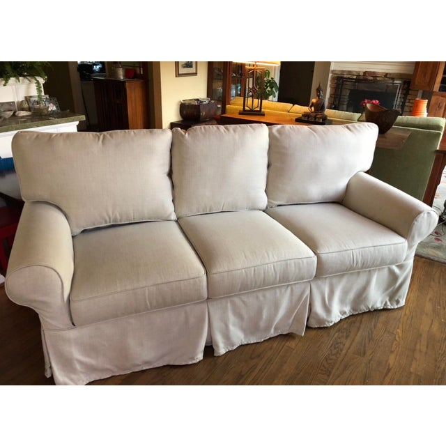 Traditional Pottery Barn Sunbrella®️ Slub Tweed Pebble Slipcovered Sofa For Sale - Image 3 of 4